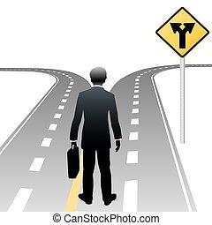pessoa negócio, decisão, direções, sinal estrada