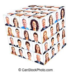 pessoa negócio, group., cubo, collage.