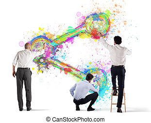 pessoa negócio, parte, isolado, wall., pintura, fundo, branca, ícone