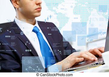 pessoa negócio, trabalhar computador