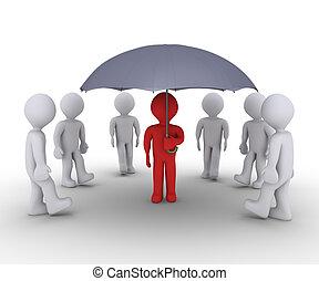 pessoa, oferecendo, proteção, sob, guarda-chuva