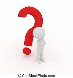 pessoa, -, pergunta, 3d, marca