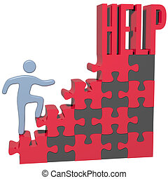 pessoa, problema, achar, ajuda, solução