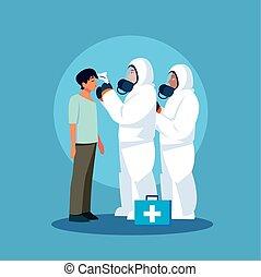 pessoa, profissional médico, protetor, diagnósticos, roupa