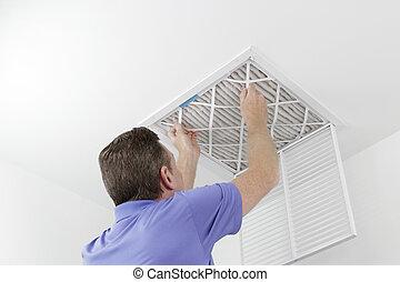 pessoa, removendo, teto, ar, filtro