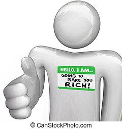 pessoa rica, nametag, olá, tu, aperto mão, fazer, ir