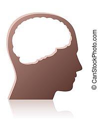 pessoa, símbolo, cabeça, desmiolado