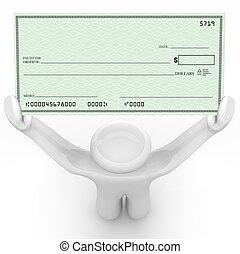 pessoa, segurando, grande, cheque branco, rico, payout