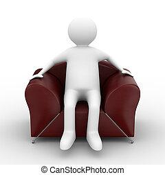 pessoa sentando, em, armchair., isolado, 3d, imagem
