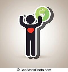 pessoa, silueta, laboratório, coração