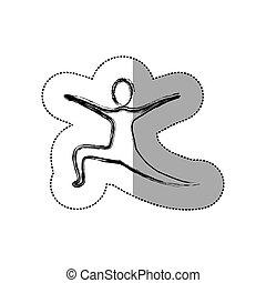 pessoa, silueta, prática, dançar