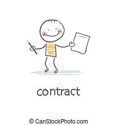 pessoa, sinais, illustration., contract.