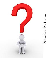 pessoa, sob, pergunta, querer saber, marca