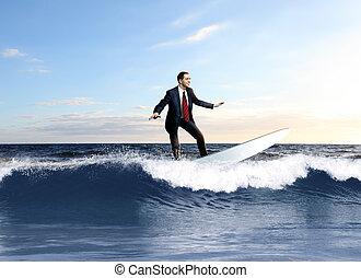 pessoa, surfando, jovem, negócio, ondas