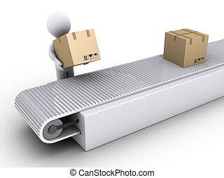 pessoa, trabalhos, em, a, despacho, de, caixa papelão,...