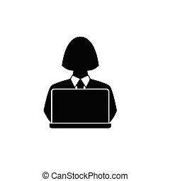 pessoa, usuário, blogger, programador, computer., laptop.