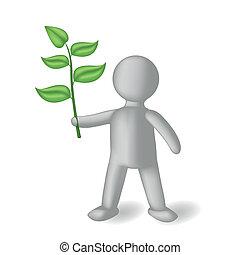 pessoa, verde, ramo, 3d
