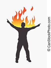 pessoa, vetorial, silueta, queimadura