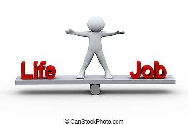 pessoa, vida, equilibrar, trabalho, 3d