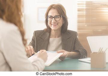 pessoal, aconselhar, treinador, serviços, apresentando