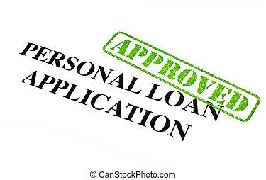 pessoal, aplicação, empréstimo, aprovado