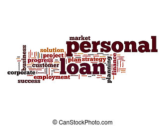 pessoal, empréstimo, palavra, nuvem