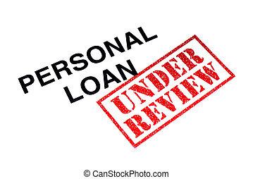 pessoal, empréstimo, revisão, sob