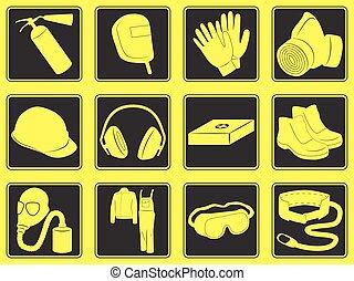 pessoal, equipamento segurança, ícones