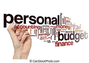 pessoal, palavra, orçamento, nuvem