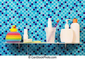 pessoal, prateleira, higiene, produtos, bathroom.