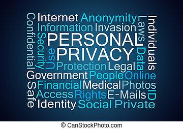 pessoal, privacidade, palavra, nuvem