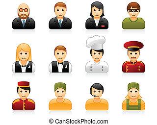 pessoal, restaurante, hotel, ícones