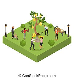 pessoas, árvore, finanças, investimento, riqueza, vetorial, caricatura, illustration., negócio, dinheiro, personagem, mulher, profit., moeda, homem