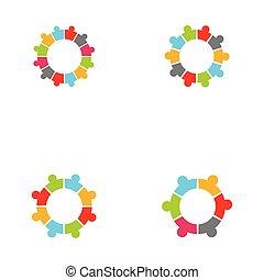 pessoas, -, ícones conceito, obrigação, vetorial, círculo, cobrança
