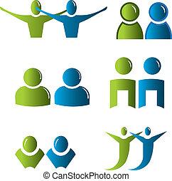 pessoas, ícones, negócio, jogo