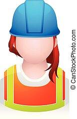 pessoas, -, ícones, trabalhador, construção, avatar