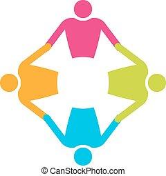 pessoas, 4., trabalho equipe, segurando, círculo, hands.