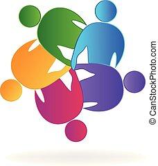 pessoas, 5, vetorial, trabalho equipe, comunidade