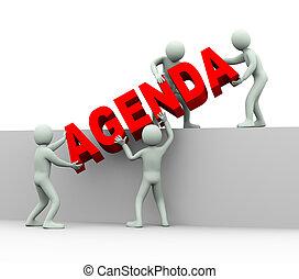 pessoas, agenda, -, 3d, conceito
