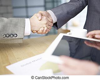 pessoas, agitação, negócio, mãos