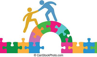 pessoas, ajuda, juntar, resolva, ponte, quebra-cabeça