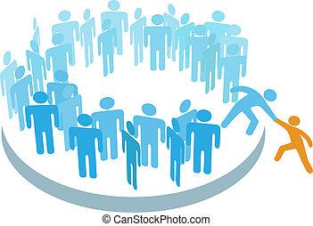 pessoas, ajuda, novo, membro, juntar, grupo grande