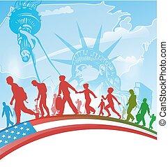 pessoas, americano, imigração