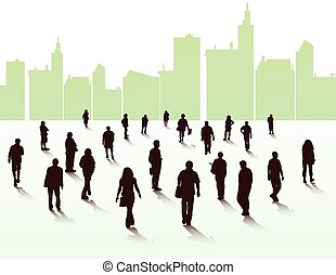 pessoas andando, silhuetas