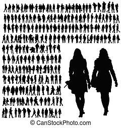 pessoas andando, silueta, pretas, vetorial