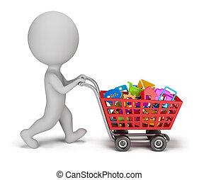 pessoas, -, aplicações, comprado, pequeno, 3d