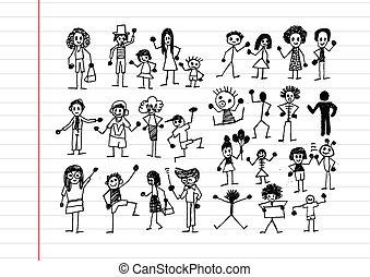 pessoas, atividade, ícones, ilustração
