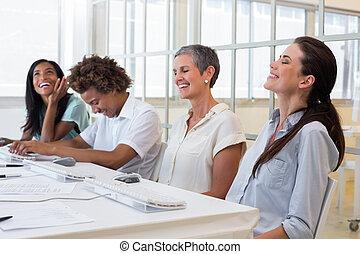 pessoas, atraente, reunião, negócio