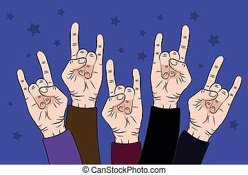 pessoas, aumento, rocha, mãos cima, em, concerto, com, ligado, roxo, cor, experiência., vetorial, ilustração