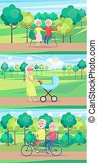 pessoas, avós, passeio, sentar, junto, passeio, maduras